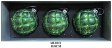 green glass ball with net for christmas decoration