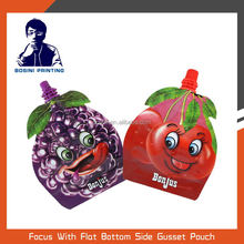 Food grade plastic stand up juice packaging spout pouch
