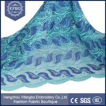 2015 Rhinestones african water souble embroidery fabric / Aqua blue fantasy guipure embroidery lace fabric
