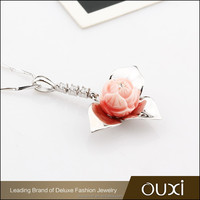 OUXI pink circle flower silver meaningful crystal pendant necklace Y30292