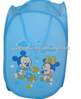 Hot sales lovely cute cartoon bear printed pop up laundry basket for kids