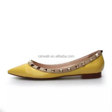 Yellow rubber outsole real leather upper women flat shoe pointed toe heels ballet flats