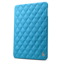 Jisoncase Quilted Cover with Stand for iPad mini 4 blue wholesale fast shipping