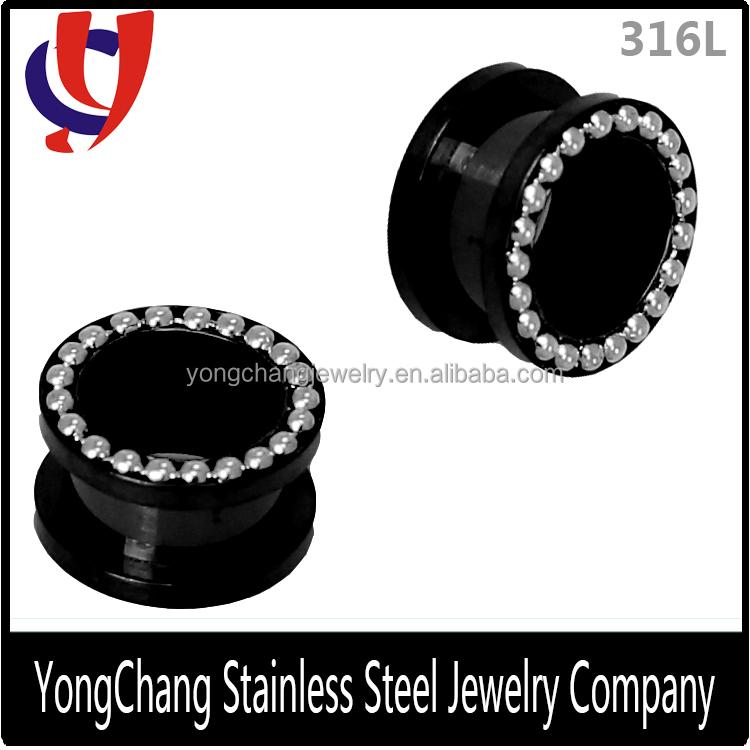 黒ステンレス鋼製の耳栓・316lトンネルの宝石といくつかの銀小さなボール