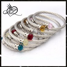 High Quality Stainless Steel Cable Bangle Wiht Colorful Crystal Stone