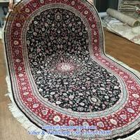 oval 5x8ft handknotted high class handamde oriental persian table silk rug