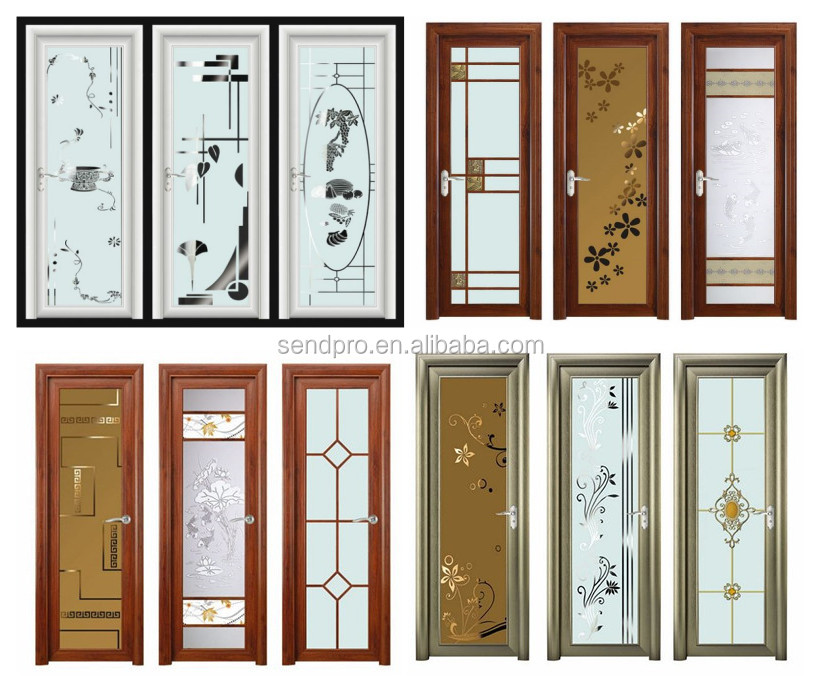 Standard size glass aluminum bathroom door buy standard for Aluminium bathroom door designs
