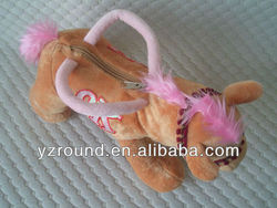 hand bag with horse shaped stuffed plush toy