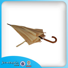8 ribs curved handle wooden straight durable umbrella