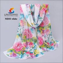 Lingshang high quality women girl print shawl gauze long wrap stole chiffon soft scarf