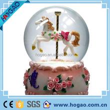 musical box waterglobe snow globe - merry-go-round