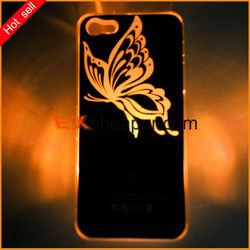 Black Butterfly LED Sense Flash Lighting Case Cover Colors Changing case For iPhone 5 5G