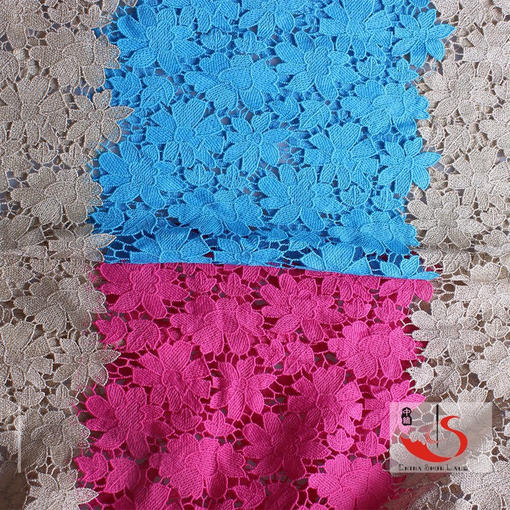 Produttore di porcellana multi- colore rosa e oro filato di poliestere abito africano tessuto di pizzo guipure 2015