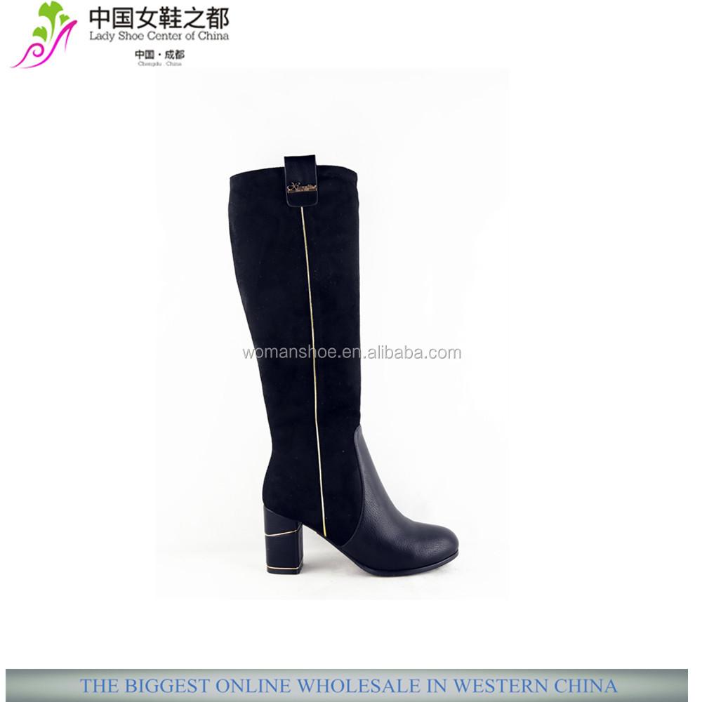 wholesale xg302 chunky low heel knee high steel toe