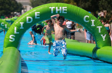2015 Crazy fun inflatable city slide /1000 ft slip n slide inflatable slide the city