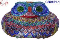 CB0121 Night owl design, 2015 hot sale elegant and luxury Rhinestones African Handbag for wedding/party