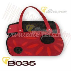B035 Cloth Material Red Color Pet Bag Dog Carrier with Wheel Factory Shipping