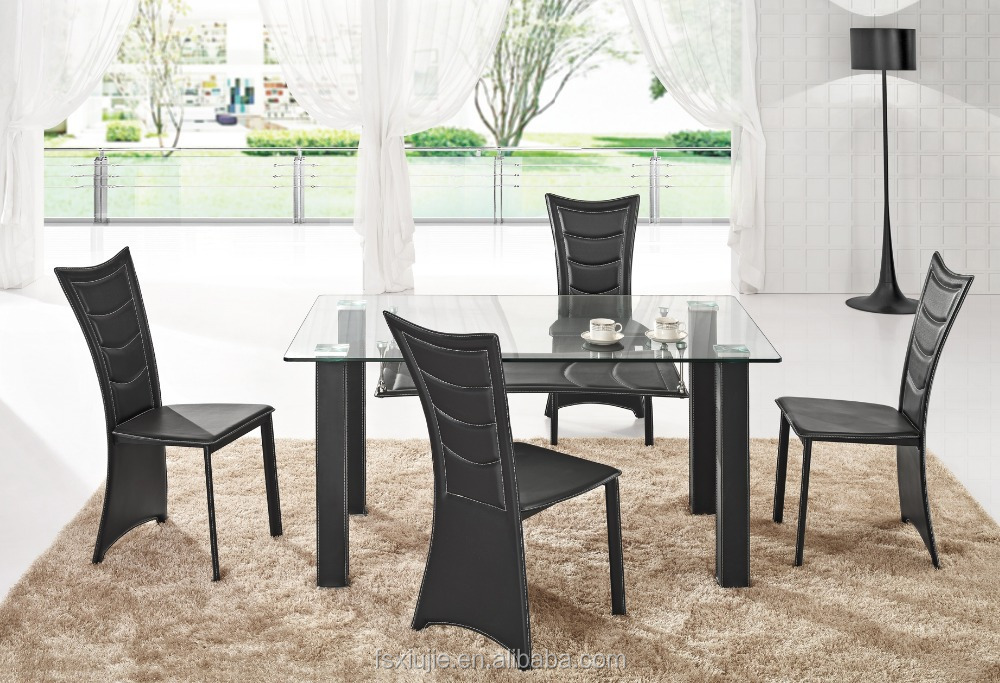 L852 Paris Extending Clear Glass Dining Table 4 Black Xiujie Chairs Autum