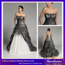 Custom Made Strapless Organza Ruffled Lace Up Floor Length Rhinestone Beaded Black and Silver Wedding Dresses 2012 (WD184)