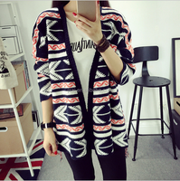 Han edition of new fund of 2015 autumn winters is women's knitwear easing in color tassel with long cardigan sweater coat
