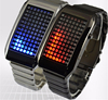 Vintage 72 lights grid led stainless steel couple watch(SWTPR1027)