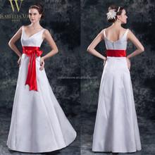 Elegant cheap V neck wedding reception dress with red bow sash