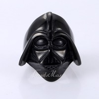 Trendsmax Punk Mens Boys Star War Darth Vader Mask Helmet Black Tone 316L Stainless Steel Ring