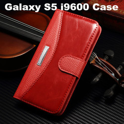 Luxury PU Leather Wallet Stand Case Magnetic Phone bag Cover Case For Samsung Galaxy S5 i9600 With Card Holder