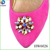 HW6026 bridal shoe decoration rhinestone mixed color glass shoes buckle