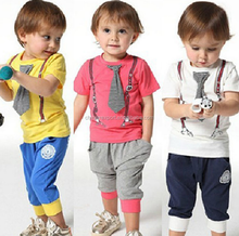116 2015 wholesale fashion hot sale new summer south korea tie picture T-shirt + half pants boys leisure clothes set 2-7 years