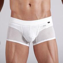 boxeadores de la ropa interior de color blanco para los hombres calzoncillos de malla sexy