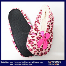 Ladies Sock Leopard Cheetah Coral Fleece Terry Flat Indoor Ballerina Slippers With Satin Bow