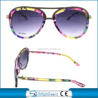 2015 Hot popular high quality clear colorful paper transfer available plastic up bridge sunglasses