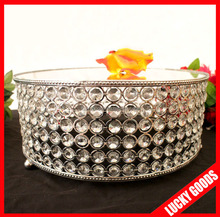 hot sale round shape glitter hanging crystals cake stand