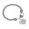 Faith Zinc Alloy Silver Clear/Blue/Pink Crystal Heart Charm Bracelet Wholesale
