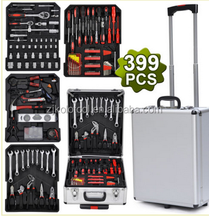 Factory supply 399pcs germany design hand tool set aluminium suitcases on wheels