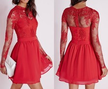 Custom Design Girls Sexy Red Lace Skater Dress Long Sleeves Red Wedding Dress