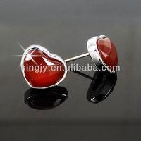Hot selling elegant heart shape agate 925 silver earrings