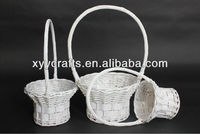 white wicker willow flower basket with long handle (factory supplier)