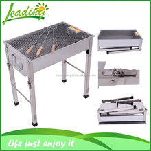 European Stainless Steel Rectangular Charcoal BBQ Grill, Height Adjustable Leg Portable Charcoal BBQ Grill