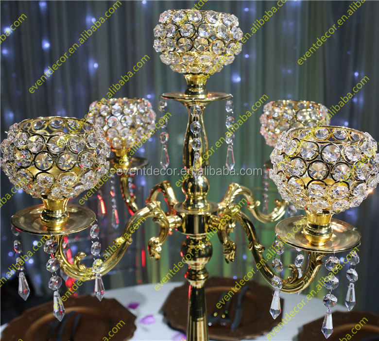 Wholesale arms crystal candelabra gold