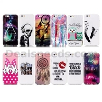 Colorful Printing Soft Back TPU Case for iPhone 6 / iPhone 6S - Bitch/Skull/Lips
