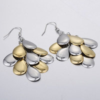 Trendsmax Fashion Elegant Womens Girls Gold Silver Tone Smooth Flakes Eardrop Dangle Earrings Stainless Steel Earrings