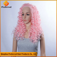 Jerry curly pink color synthetic hair lace front wig natural hairline