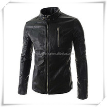 New Men's Fashion Jacket Short Slim Fit Collar Motorcycle PU Leather Jacket Coat