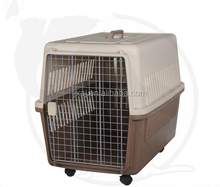 LOW MOQ plastic handle pet carrier on wheels, walking pet carrier