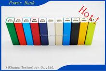 Factory Price Colorful Aluminium alloy portable Mini 2600mah Top selling 18650 Li Polymer Beautiful rectangle Power Bank