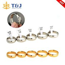 17-21mm Size Gold Silver Plated Stainless Steel Men Women Jewelry Wedding Rings