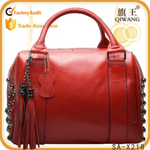 european style large capacity leather handbag red tassel bag office lady