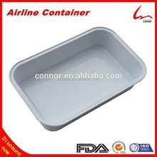 6.3'' X 4'' Rectanglar White Coated Smooth Wall Aluminium Foil Inflight Food Container